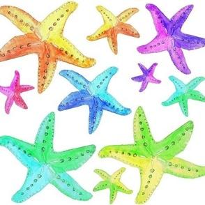 Rainbow Watercolor Starfish BIG