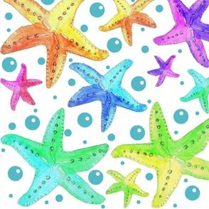 Rainbow Watercolor Starfish Lagoon Blue