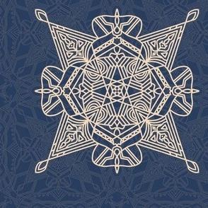 Geometric pattern on blue