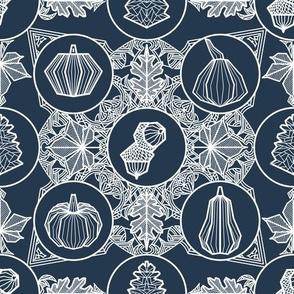 Geometric Autumn white on dark blue