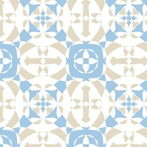 Geometric tiles on beige and blue