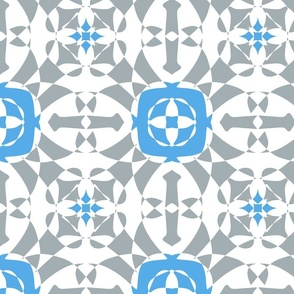 Geometric tiles on grey and blue