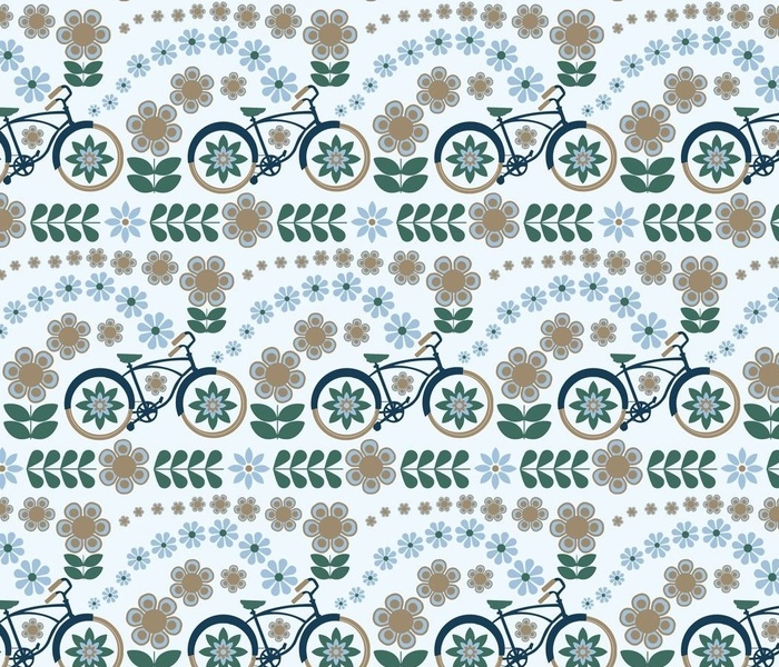 Bigger Scale Calm Bicycle Ride in Mushroom Sky Blue Pine and Navy