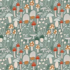Woodland Mushroom Meadow - sage green - medium scale