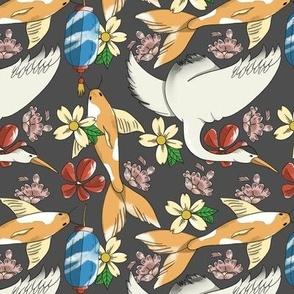 Ukiyo-e Japanese Inspired Fish and Cranes