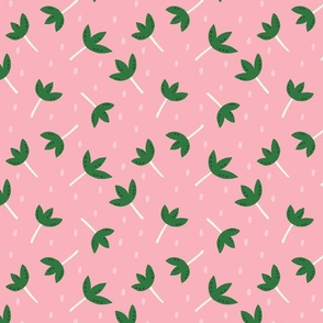 Tossed Floral with dots in pink & green
