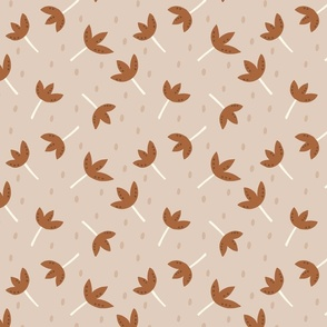 Tossed Floral with dots in medium brown