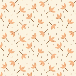 Tossed Floral with dots in apricot