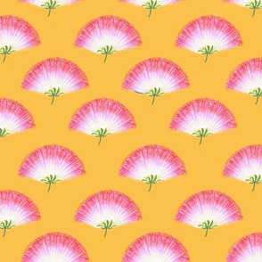 Pink Mimosa Plumes Tiled on Goldenrod
