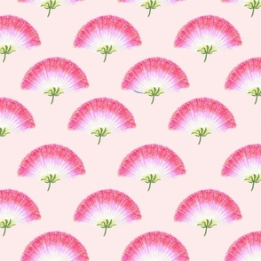 Pink Mimosa Plumes Tiled on Light Pink