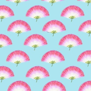 Pink Mimosa Plumes Tiled on Light Blue