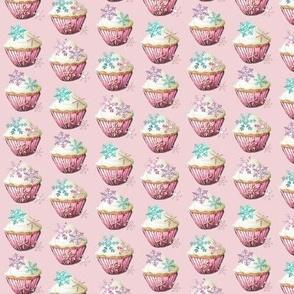ice crystal vanilla  cupcakes on pink