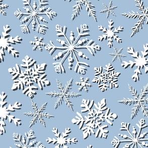 CALM Snowflakes on sky blue