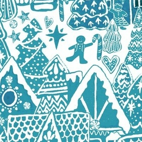 Candy House Toile in teal and white// Gingerbread Christmas Village