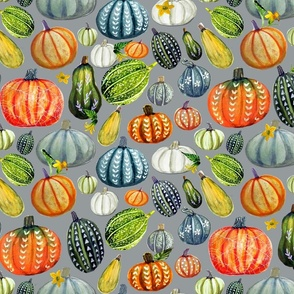 Gourd and pumpkin harvest painted on gray