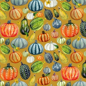 Gourd and pumpkin Harvest painted on yellow joy