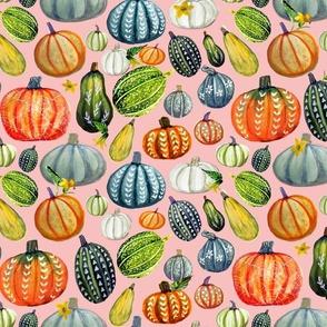 Autumn Botanicals, painted pumpkins on pink