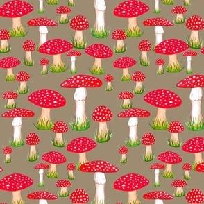 red mushrooms on mushroom