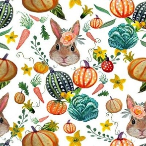 Rabbit and pumpkins, vegetables and flower harvest painted in watercolor