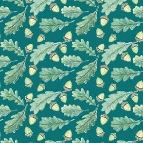 oak leaves on pine