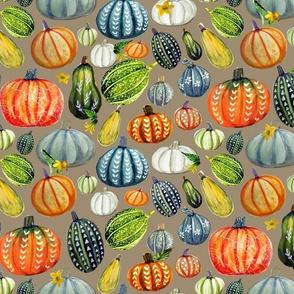 Gourd and pumpkin harvest painted on mushroom