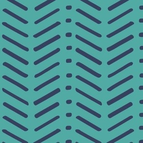 Teal and Navy Chevron