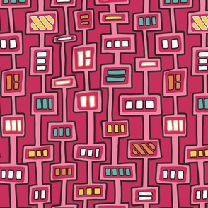 Mola Stripes with Squares - Pink