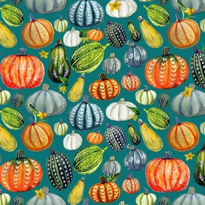 Gourd and pumpkin Harvest painted on teal