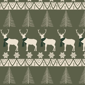 Christmas boho reindeer ugly sweater with dark green background