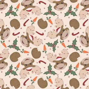 Christmas Moose Reindeer with Beige background