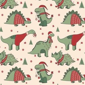Christmas Dinosaurs Dino Beige