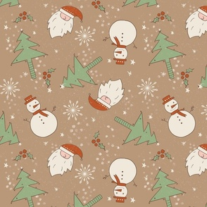 Christmas Doodles Santa Tree Snowman beige background