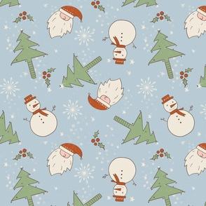 Christmas Doodles Santa Tree Snowman light blue background