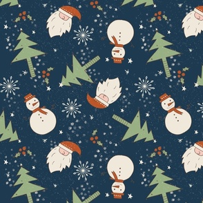 Christmas Doodles Santa Tree Snowman Dark blue background