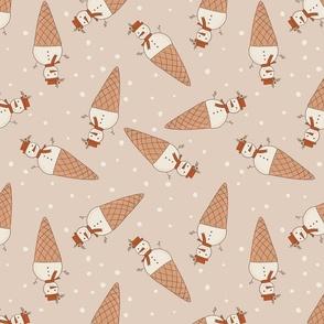 Snowman Christmas retro neutral ice cream cone