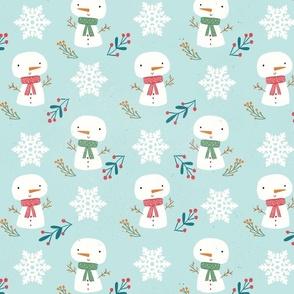 Christmas holidays Cute snowman blue background