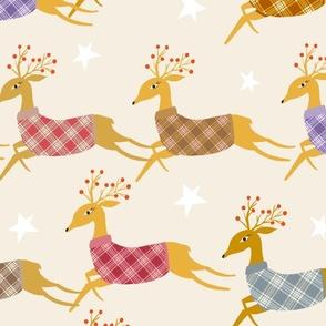 Christmas reindeers in jumpers large scale