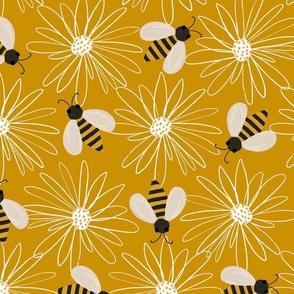 Bees yellow bees daisies