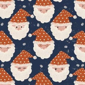 Christmas Santa dark blue background retro boho