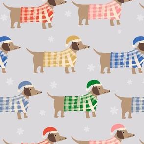Christmas dogs dachshund Weiner sausage dogs grey