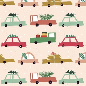 Christmas cars muted neutral