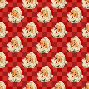 Christmas Vintage Santa Claus with Red Check Gingham background