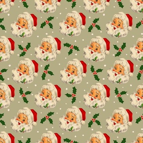 Christmas Sage green vintage Santa Claus