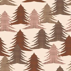 Christmas Trees Gingham Checkered  print