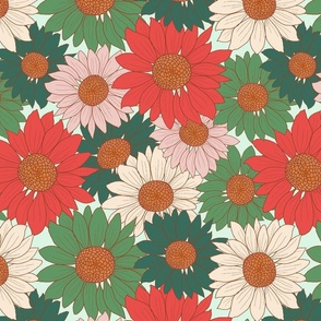 Retro Christmas Florals poinsettia Flowers