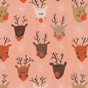 Christmas Reindeers red nosed Pink background