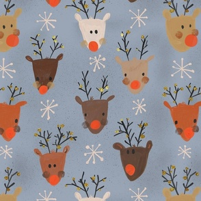 Christmas Reindeers red nosed Grey background