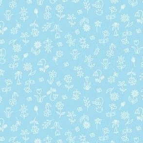 Sweet Tossed Floral in pale blue: perfect for apparel and home decor items