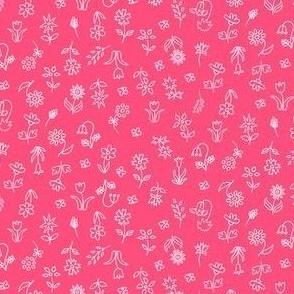 Floral Vibrant and Energy in Hot Pink: perfect for kids apparel and soft furnishings, pillows and accesories