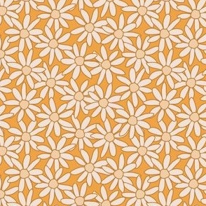 Single Daisy hand drawn in cream and warm mustards: large scale for kids apparel and home decor items